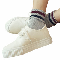 Ankle Socks with Contrast Stripes