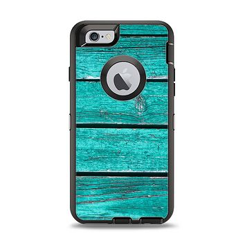 The Trendy Green Washed Wood Planks Apple iPhone 6 Otterbox Defender Case Skin Set