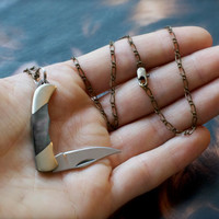 Miniature Pocket Knife Necklace- Black Lip Pearl with Delicate Antiqued Brass Chain