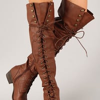 Edgy Touch Military Lace Up Boot