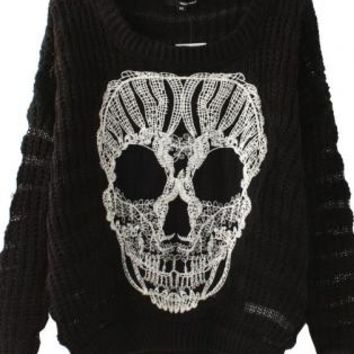 Black Knit Sweater with White Lace Skull Detail