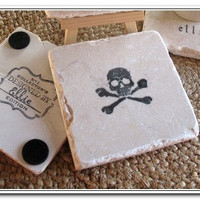 Skull and Crossbone Tile Coasters, Set of 4