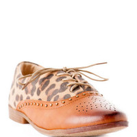 Bounce Oxford Flat- leopard vamp, studded trim and a perforated toe cap.                       - Francescas