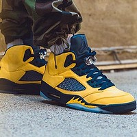 Bunchsun Air Jordan 5 Popular Men Casual Sport Running Basketball Shoes Sneakers Yellow&Navy Blue