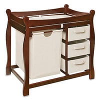 Badger Basket Sleigh Changing Table with Hamper and 3 Baskets in Cherry