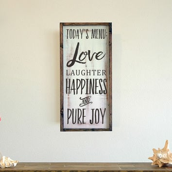 Love Laughter Happiness Pure Joy, Framed Wall Art, 11x22