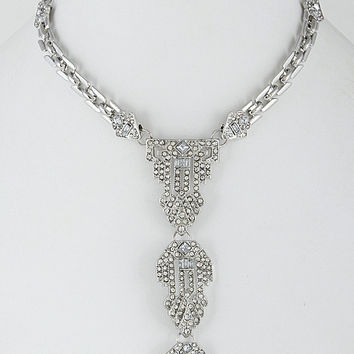 """14"""" silver crystal chain choker collar necklace 4.50"""" drop"""