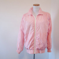 Vintage 80s Pink Windbreaker Lined Nylon Parachute Jacket Norm Thompson USA Womens Small Pink Jacket