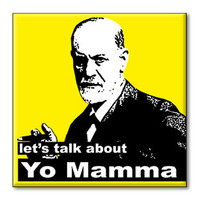 """Refrigerator Magnet - Let's Talk About Yo Mamma, Sigmund Freud 2.5"""" x 2.5"""" inches, yellow and black"""