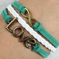 personalized bracelets  - bronze infinit & anchor  braclets with green rope,with braided rope bracelets ajustable length 138