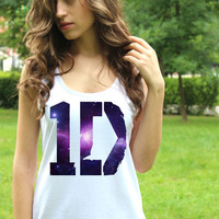 One Direction Tank Top Logo 6 Galaxy Tee 1D Tank Top Shirt Harry Styles Tank Tops Lady Fit Crop Tank Top