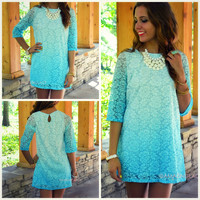 Fragrant Waters Aqua Floral Lace Shift Dress