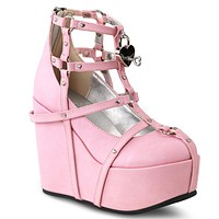 """Poison 25 Goth Punk Platform Cage Ankle Boot 5"""" Wedge Pink  - Demonia Direct"""