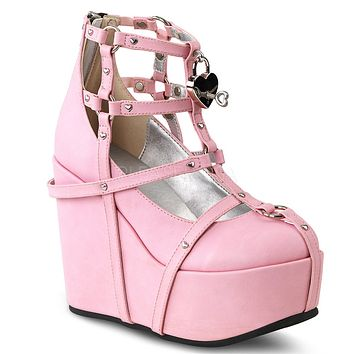 "Poison 25 Goth Punk Platform Cage Ankle Boot 5"" Wedge Pink"