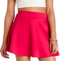 Solid High-Waisted Skater Skirt by Charlotte Russe - Fuchsia
