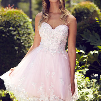 G2048 Feminine Lace Accented Homecoming Cocktail Dress