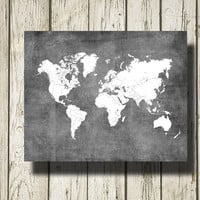 WORLD MAP Printable Instant Download Gray Burlap and White Print Poster Home Decor Wall Art CI015