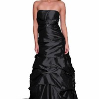 Beautifly Women's Strap Ruched Waves and Crystal Ruched Gown