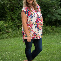 Curvy| It's Simply Irresistible Floral Blouse - Blush