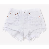 Distressed White Cheeky Shorts