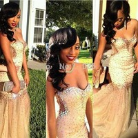 2015 New Crystal Mermaid Sexy Evening Prom Gown Sweetheart Pageant Party Dresses