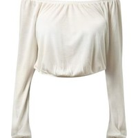 Cream Long Sleeve Cropped Gypsy Top