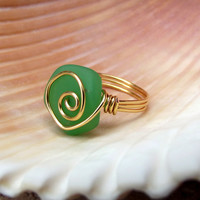 Spring Green Seaglass Ring:  24K Gold Swirl Spiral Wire Wrapped Seafoam Beach Jewelry, Size 7