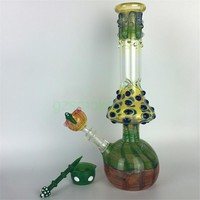 "Mushroom glass bongs beaker pink colorful zob hitman bong water unique pipes 12"" hand made dab rigs oil heady pipe rig colored bowl"