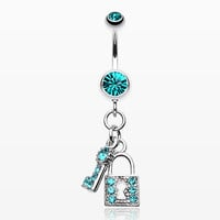 zzz-Glistening Lock and Key Belly Button Ring