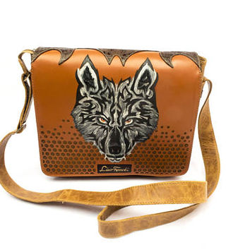 Unisex Leather Satchel with handpainted wolf and two tone detailing