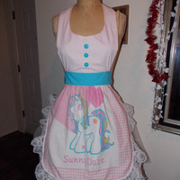 Sunny Daze My Little Pony MLP Ruffled Tie back apron with button closure at neck