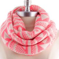 Pink Knit Scarf Knitted  Infinity Scarf Tribal Print Knitted Scarf Autumn Women Accessories Christmas Gift Guide - By PiYOYO