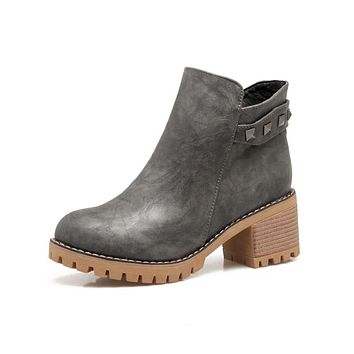 Punk Style Studded Zip Ankle Boots Chunky Heels 7064
