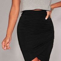 Black Ruched Bodycon Skirt