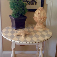 Vintage Round Side Table Hand Painted Cream And Grey Harlequin Pattern Distressed and Glazed