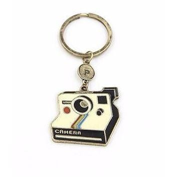 Polaroid Style Camera Graphic Keychain in Black and Gold