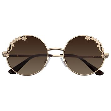 Womens Flower Floral Boho Round Mirror Sunglasses