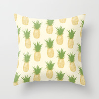Pineapple Gold Throw Pillow by The Wallpaper Files