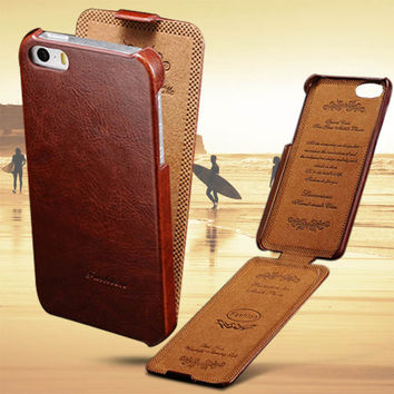 Luxury Flip PU Leather Case For iPhone 5 / 5S / SE Apple Brand Vintage Cover 5 S iPhone5 5Case i Phone Coque Fundas Black