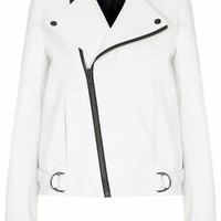 WHITE LEATHER BIKER BY BOUTIQUE