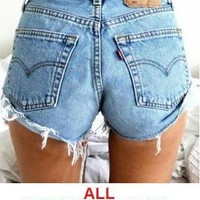 Levi Vintage Shorts Womens High Waisted Levis 501 Jean 6 8 10 12 14 16