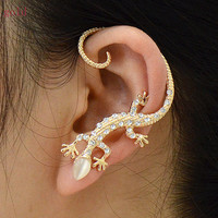 Lizard Ear Cuff - Ear Cuff Jewelry - Ear Cuff Earring - Rhinestone Ear Cuff - Rhinestone Earrings - Affordable Womens Fashion Jewelry