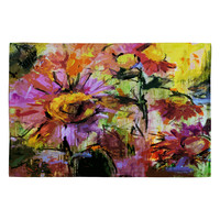 Ginette Fine Art Abstract Echinacea Flowers Woven Rug