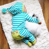 sell Autumn baby clothes Hooded Long sleeve baby rompers blue stripe baby boy girl clothing set newborn infant Outfits