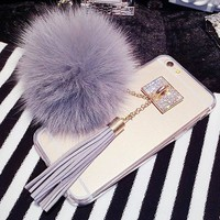 LOVECOM Luxury Fox Fur Ball Phone Case For iPhone 6 6S Plus 6Plus Pendant Tassel Soft TPU Back cover