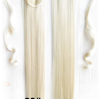 Velcro Wrap Ponytail Hair Extension,Ponytail with band,Ribbon Ponytail,Straight hair,Wig Hairpiece,synthetic hair wig,woman wigs,wig hairs,Bath & Beauty,Accessories BIP-666 60#