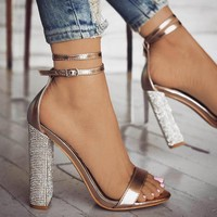Fashion hot-selling large size super high heel golden large size sandals