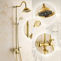 Luxury New Arrival Gold Brass Rainfall Shower Set Faucet + Tub Mixer Tap + Hand held Shower Bath and shower faucet