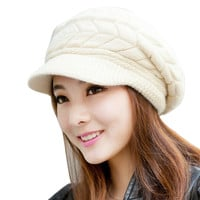 Women Hat Casual Hip-Hop Hats Skullies Beanies Knitted Hats Rabbit Fur Pompons Ear Protect Casual Cap