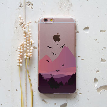 iPhone 5C Case iPhone Cover 6 iPhone Cover 6s Mountains Transparent Case Nature Case for Samsung Galaxy S7 Birds Samsung Galaxy S6 Case 242
